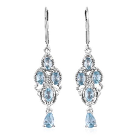 Earrings 925 Sterling Silver Platinum Plated Oval Blue Zircon Jewelry for Women Ct 6.7 925 Silver Plated Earrings
