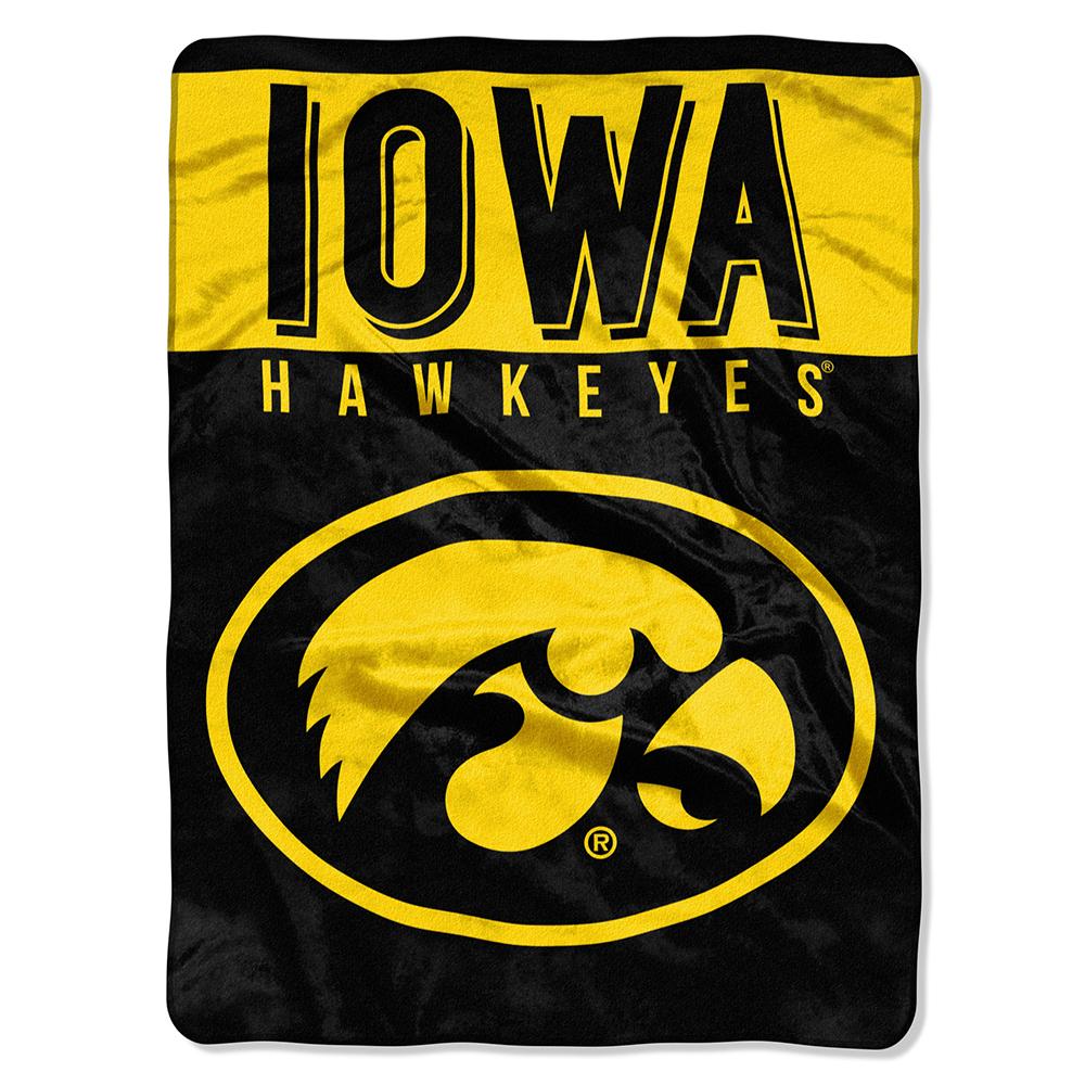Iowa Hawkeyes NCAA Royal Plush Raschel Blanket (Basic Series) (60x80)
