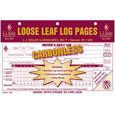 J J  Keller   Drivers Daily Log With 7 And 8 Day Recap  Carbonless  Pack Of 12