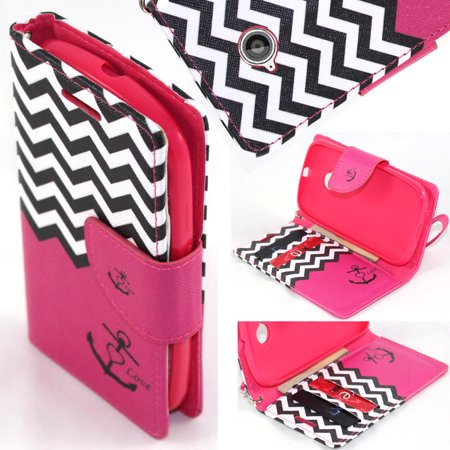 - SOGA® PU Leather Magnetic Flip Design Wallet Case for Motorola Moto E 2 (2nd Generation 2015 Release) - Pink Chevron