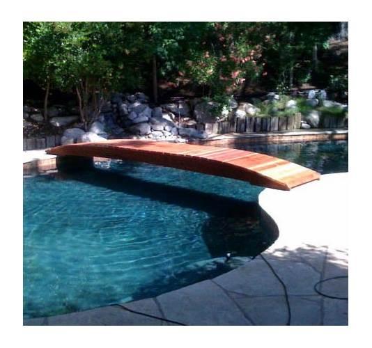 14 ft. Backyard Garden Bridge Hand Crafted from Redwood Planks (14 ft. No Post Bridge)