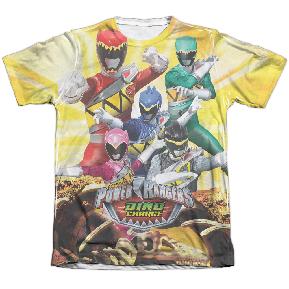 Mighty Morphin Power Rangers Charged For Battle (Front Back Print) Mens Shirt