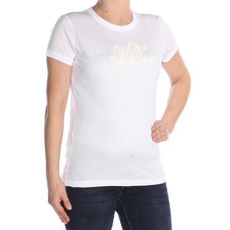RALPH LAUREN Womens White Embroidered Monogram Short Sleeve Crew Neck Top Size: S