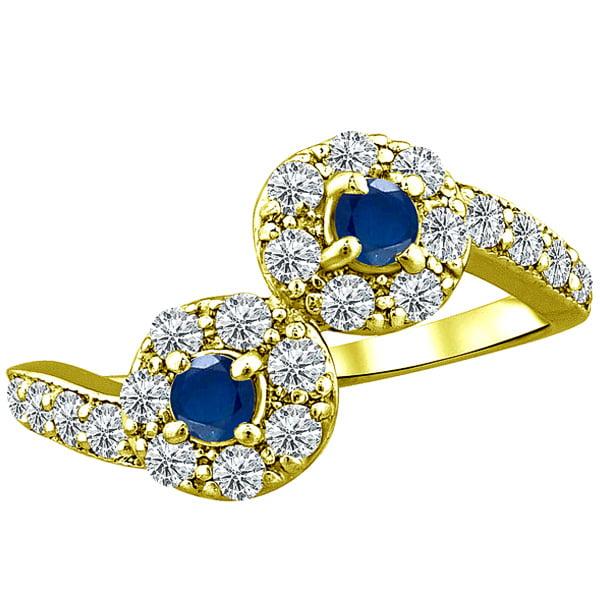 1.06 tcw Natural Sapphire & Diamond 2 Stone Twist Unique Ring 10k Yellow Gold