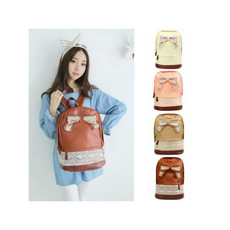 Women Canvas Lace Backpack Bag Schoolbag Handbag Campus Bookbag Bow (Chanel Bow Bag)