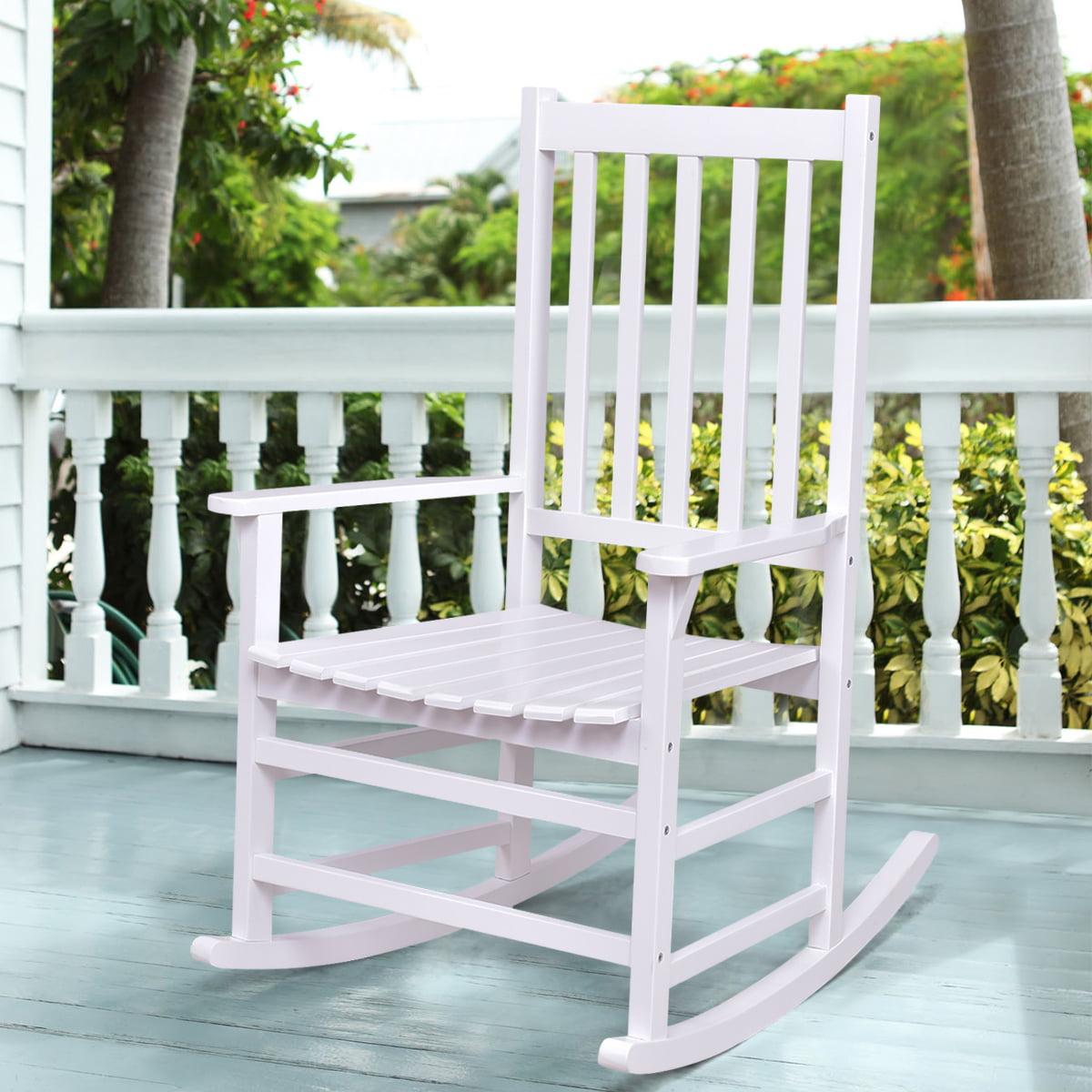 Costway Solid Wood Rocking Chair Rocker Porch Indoor Outdoor Patio Furniture White
