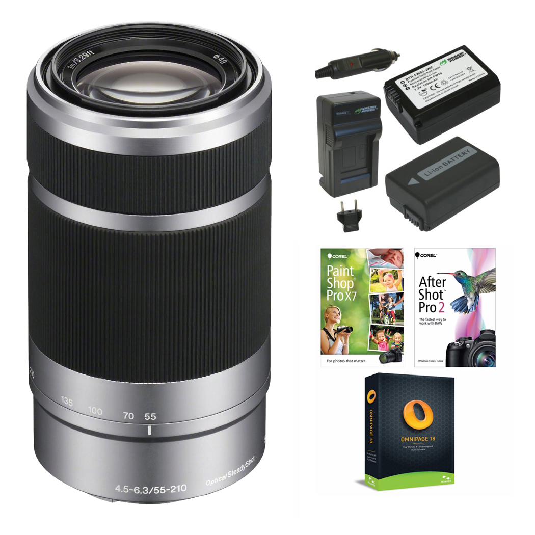 Sony E 55-210mm f/4.5-6.3 OSS E-Mount Lens (Silver) with Two Batteries & Charger + Corel Software Suite
