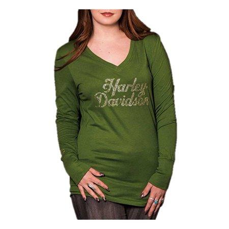 Harley-Davidson Women's Pristine Embellished Long Sleeve V-Neck Shirt, Green, Harley Davidson