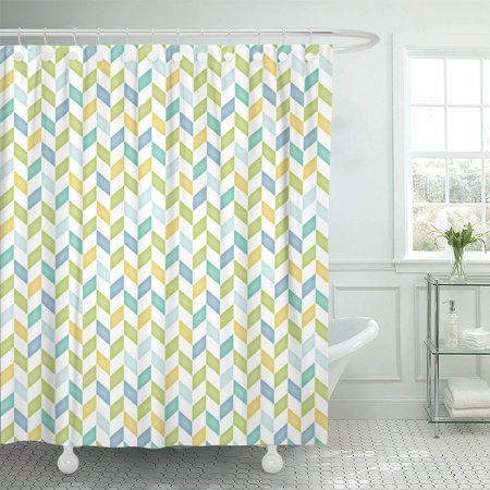 PKNMT Zag Blue Green Yellow Teal Chevron Zig Baby Boy Polyester Shower Curtain 60x72 inches