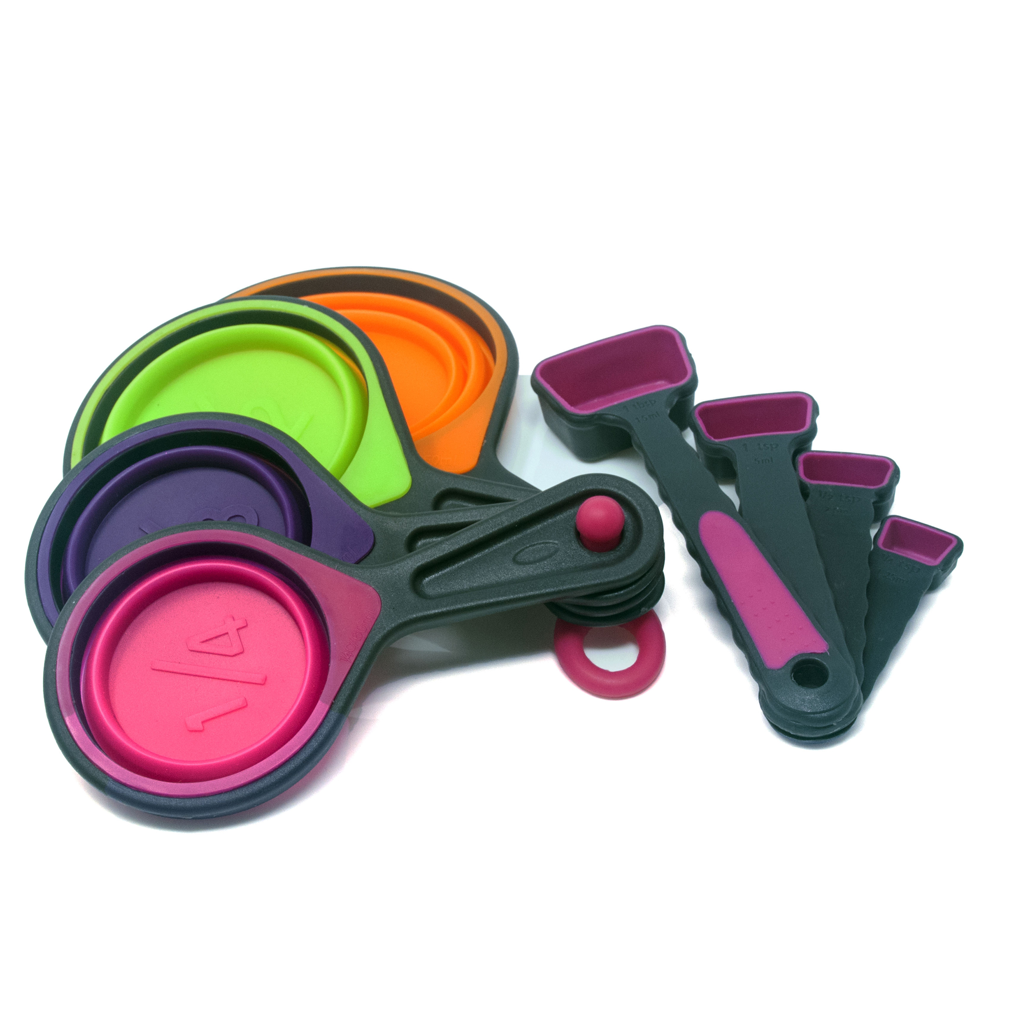 Collapsible Measuring Cups & Swivel Spoons - Pink
