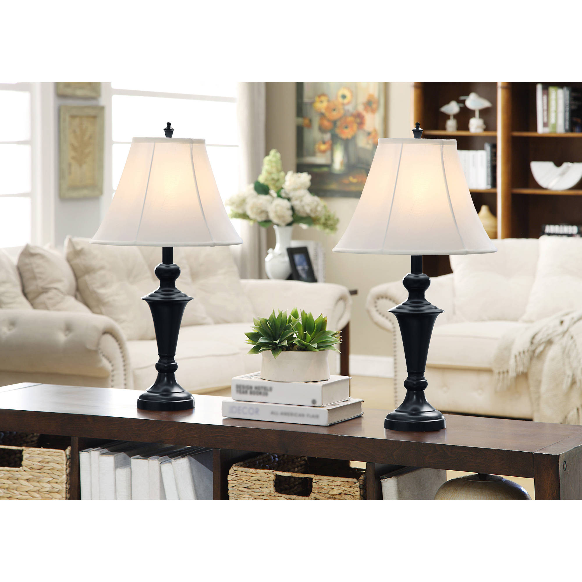 Better Homes and Gardens Lamp Set, Black with White Shades
