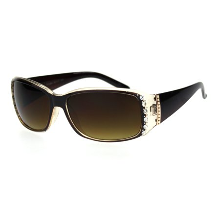 Rhinestone Studded Womens Narrow Rectangular 90s Plastic Sunglasses All Brown