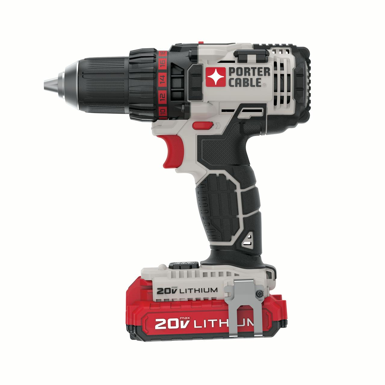 PORTER CABLE PCCK600LB 20V MAX Lithium-Ion 1/2-Inch Cordless Drill with 2 - 1.5Ah Batteries
