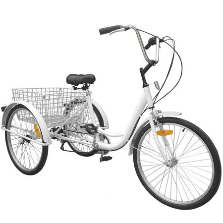 BestEquip 24 Inch Adult Tricycle Series 7 Speed 3 Wheel Bike Cruise Bike Large Size Basket - Adult Sized Green Machine