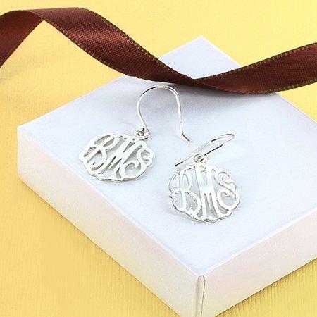 Monogrammed Sterling Silver Jewelry (Sterling Silver Monogram Shepherd Hook Earrings)