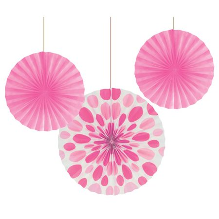 Candy Pink and Solid Polka Dot Paper Fans, 3pk