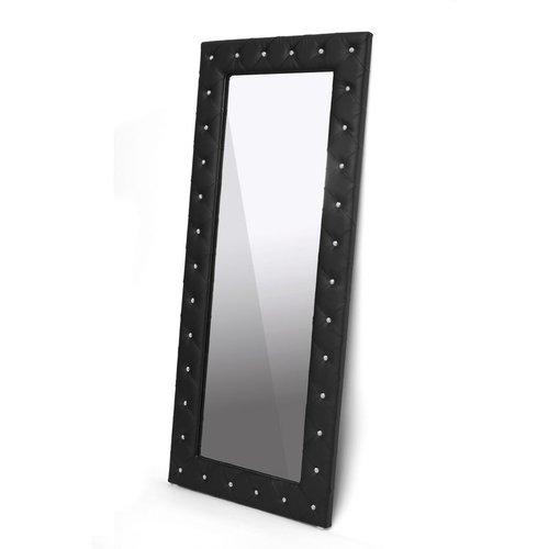 Stella Crystal Tufted Modern Floor Mirror, Multiple Colors