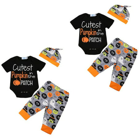 3PCS Set Newborn Baby Boy Clothes Pumpkin Halloween Bodysuit Romper Jumpsuit+Long Pants+Hat Outfits Suit 0-18M
