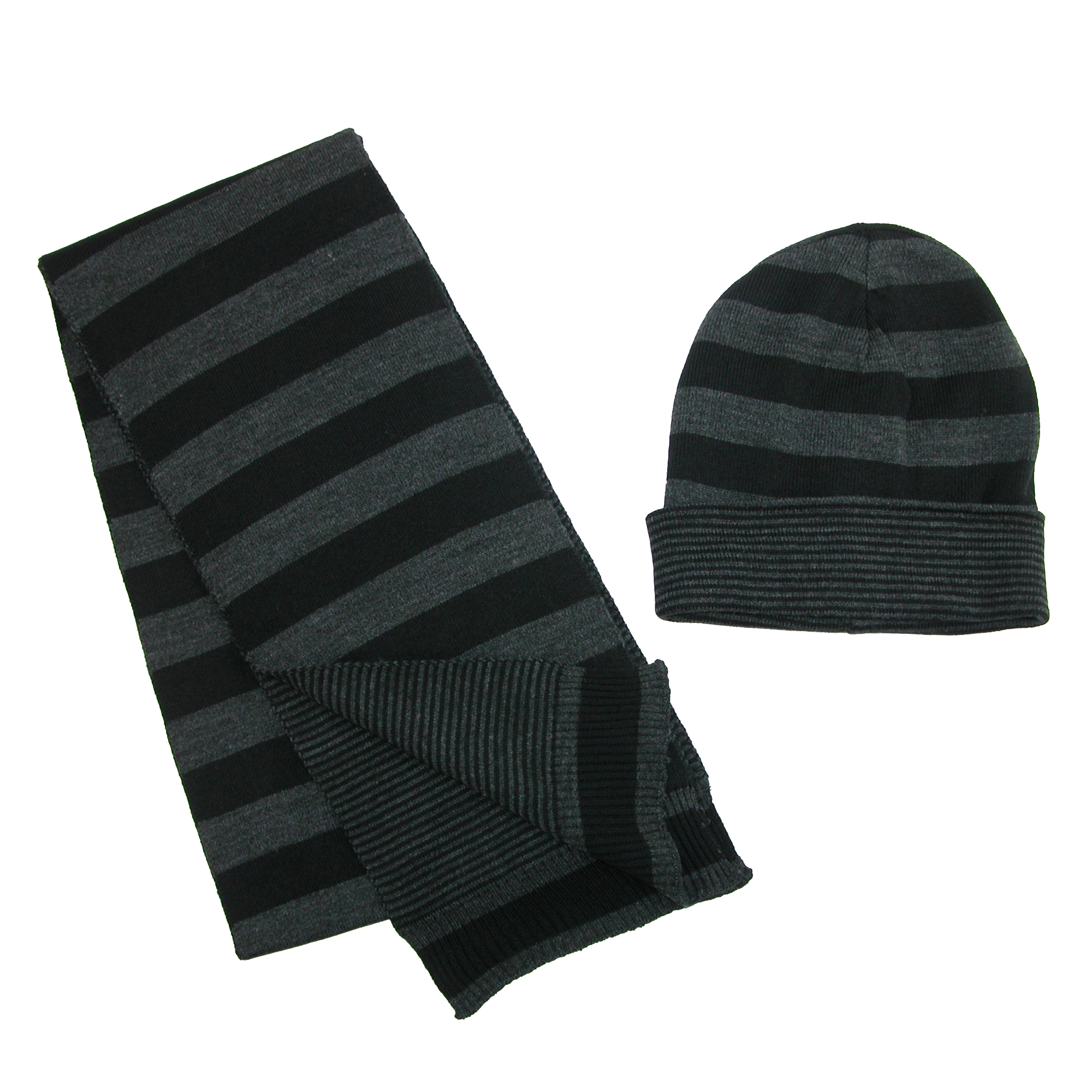 CTM®  Jersey Knit Striped Reversible Hat and Scarf Set