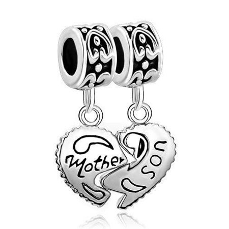 1 Pair Mother Son Heart Love European Bead Compatible for Most European Snake Chain Charm Bracelet (Snake Chain Bracelet For Charms)