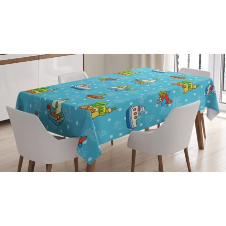 Kids Tablecloth, Colorful Cartoon Children Toy Figures Pattern Boats Planes Trains on Blue Background , Rectangular Table Cover for Dining Room Kitchen, 52 X 70 Inches, Multicolor, by Ambesonne](Train Table Cover)