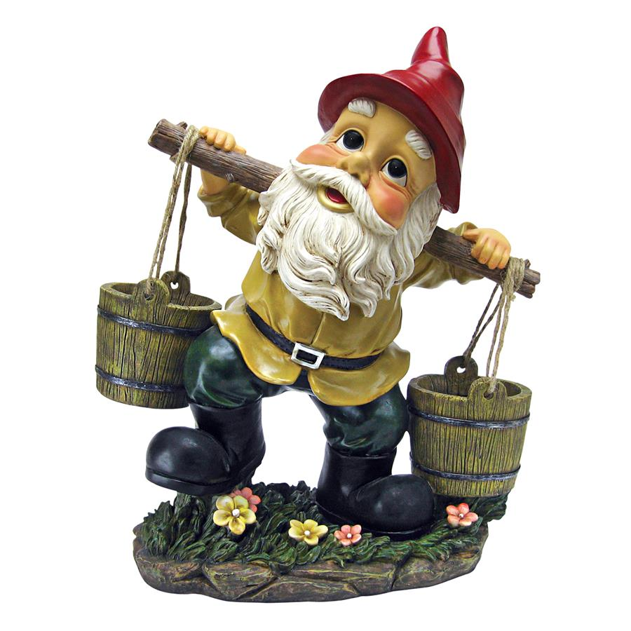 Barney Two Buckets Garden Gnome Statue by Designt Toscano