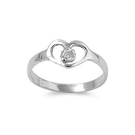 Huge Cubic Zirconia Ring - CHOOSE YOUR COLOR Sterling Silver Heart Baby Ring w/ Clear CZ Child Band Solid 925 (Clear Simulated CZ/Ring Size 5)