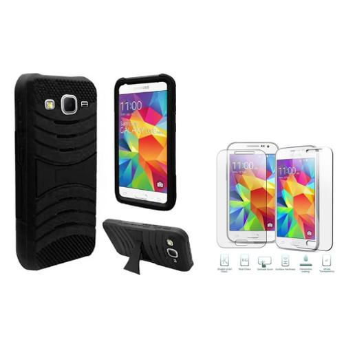 Insten Dual Layer Case For Samsung Galaxy Core Prime - Black (with Shatter-Proof Glass Screen Protector)
