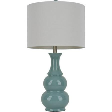 Dark Teal Double Gourd Ceramic Table Lamp