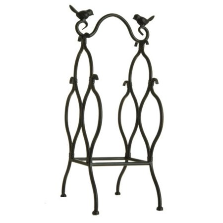 """18"""" Antique-Style Black Table Top Wine Rack with Perched Birds - 3 Bottle Storage - image 1 of 1"""