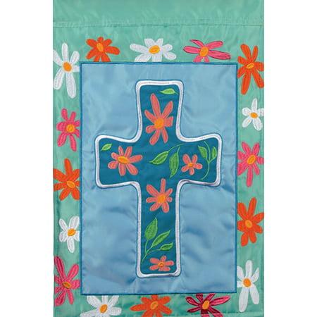 Floral Cross Easter Applique House Flag Flower Religious