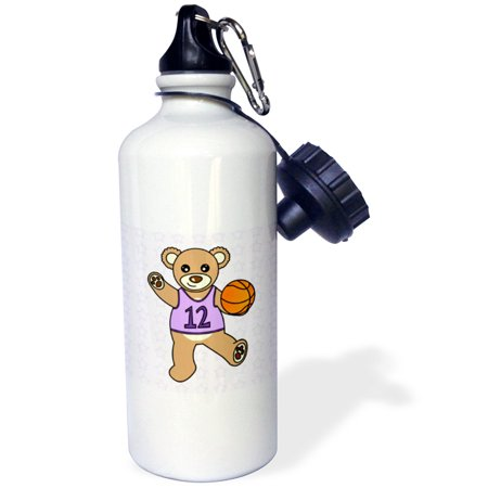 3dRose Cute Basketball Player Teddy Bear Girl, Sports Water Bottle, - Basketball Water Bottles