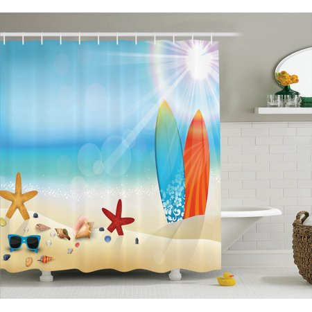 Seashells Decor Shower Curtain Set, Holiday Theme Sunglasses On The Sand Beach Summer Surfboard Daytime Sunny Starfish Seashells, Bathroom Accessories, 69W X 70L Inches, By Ambesonne - Holiday Shower Curtain
