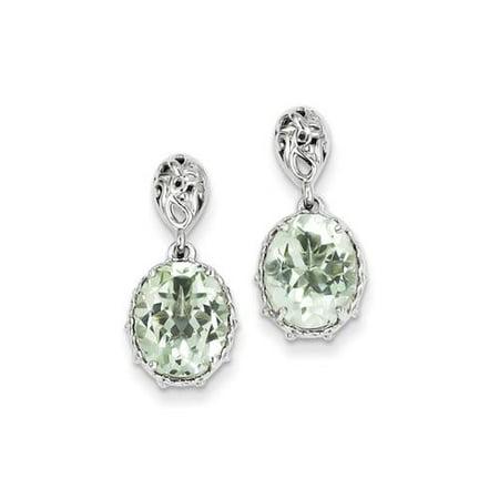 Sterling Silver Green Amethyst Earrings. Gem Wt- 4.36ct (0.8IN x 0.3IN )