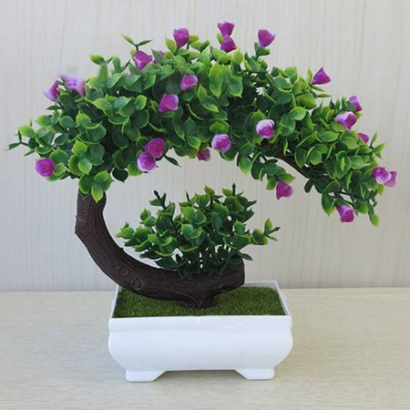 Pink Bonsai - SHOPFIVE Artificial Bonsai Tree Pot Plant Home Office Decoration Creative Green Potted Plant