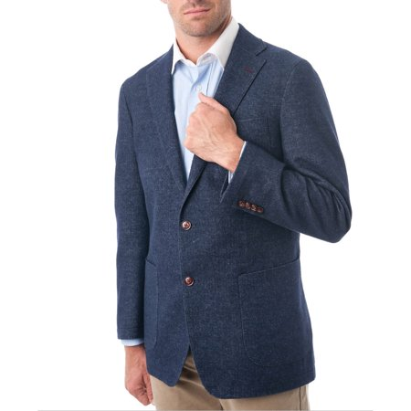 Big Men's Navy Blue Wool & Cotton Blend Herringbone Classic Fit Blazer