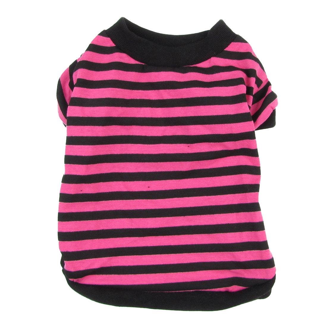Striped Printed Doggy Pet Clothing Dog Tank Top Summer Shirt Fuchsia Black S