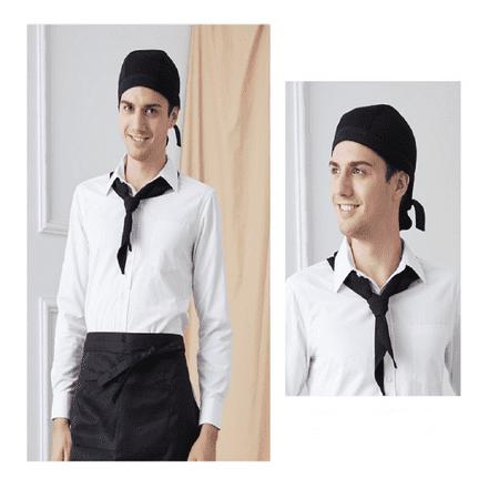 Topboutique - Fashion Chef Hat Cap Kitchen Catering Ribbon Tie Cap Turban  (Black) - Walmart com
