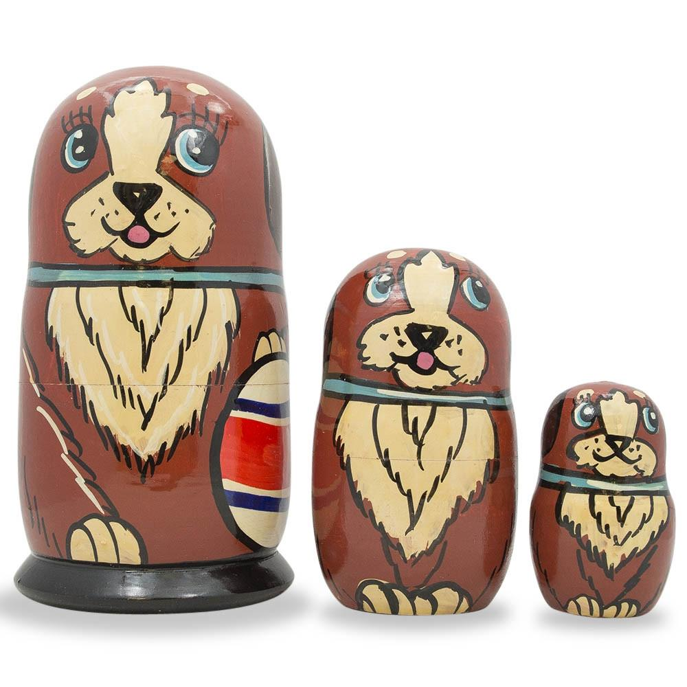 "5"" Set of 3 Brown Dog with Ball Wooden Russian Nesting Dolls"