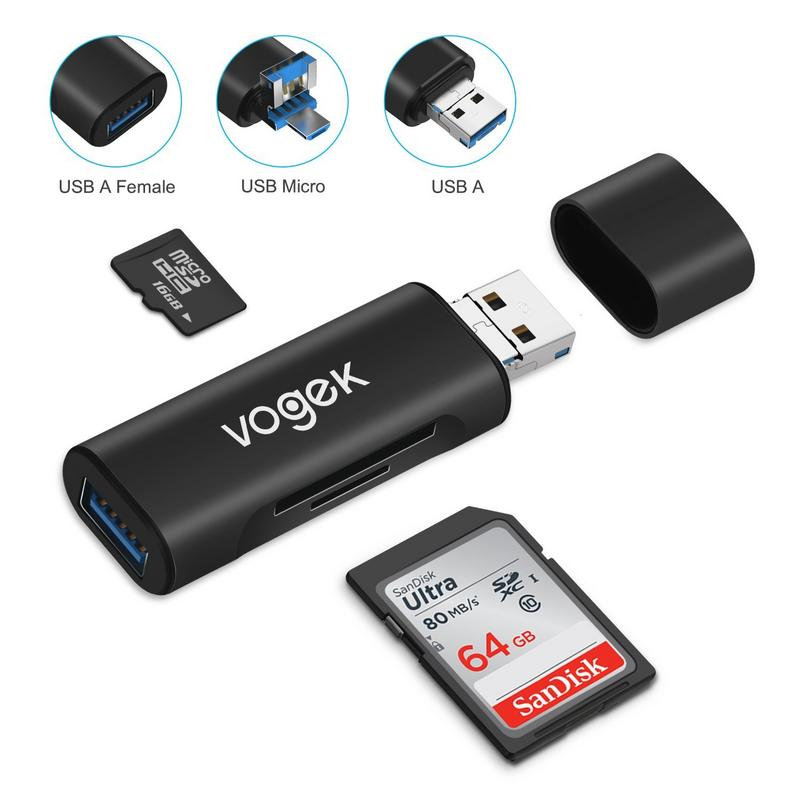 TF / SD Card Reader, Vogek Ultra Slim USB 3.0 SD / Micro SD Card Reader Adapter Micro USB OTG / USB C OTG Adapter for PC / Laptop / Smartphones/ Tablets - Black