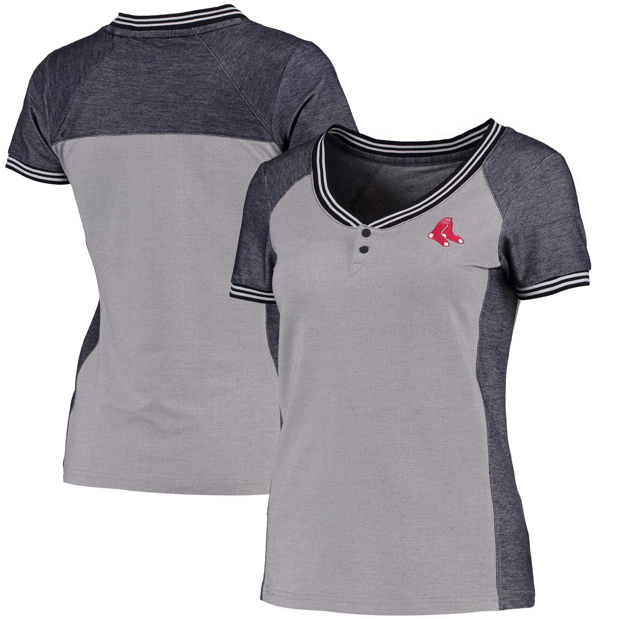 Boston Red Sox Antigua Women's Quick Henley T-Shirt - Gray/Navy