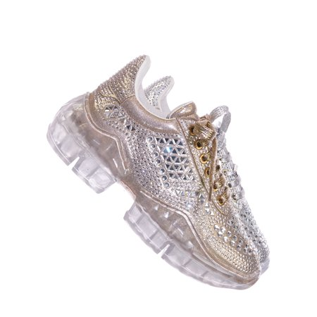 Crystal6 by Forever Link, Rhinestone Crystal Platform Sneaker - Women Metallic Clear Lace - Clear Platform Sweet Shoes