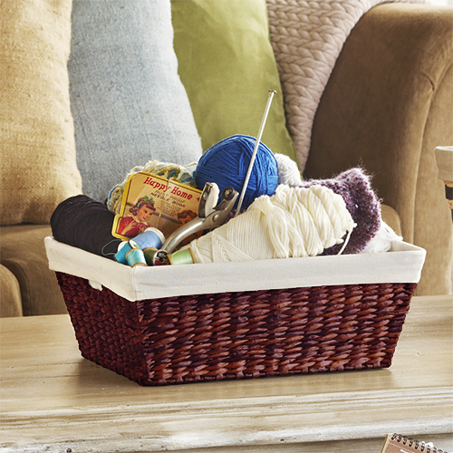 Audrey Small Rush Storage Basket with Liner Reddish Brown 15in