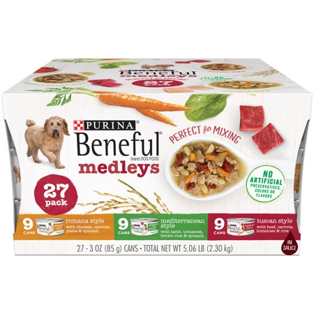 Purina Beneful Wet Dog Food Variety Pack, Medleys Tuscan, Romana & Mediterranean Style - (27) 3 oz.