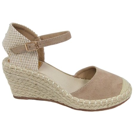 Heel Dorsay Style Platform Sandal (Women Espadrille Platform Low Kitten Heel Wedge Cap Toe Mary Jane Shoe Sandal Ana-1 Natural)
