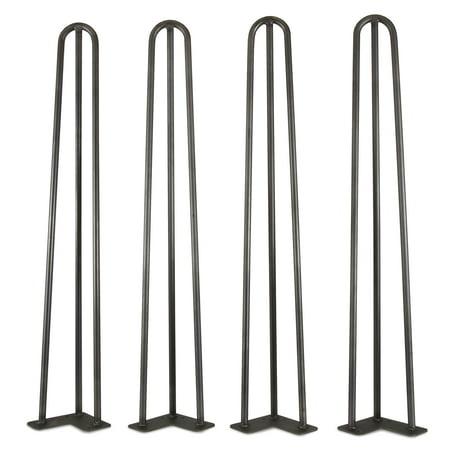 wen 28 inch mid century modern satin black hairpin table legs 1 2 inch diameter set of 4. Black Bedroom Furniture Sets. Home Design Ideas