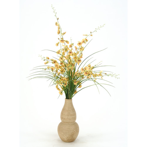 Distinctive Designs Silk Oncidium Orchids and Grass in Rio Vase