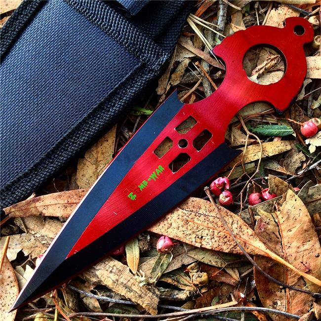 Shelter 9548 4 in. Zomb War Throwing Knife with Sheath, Red