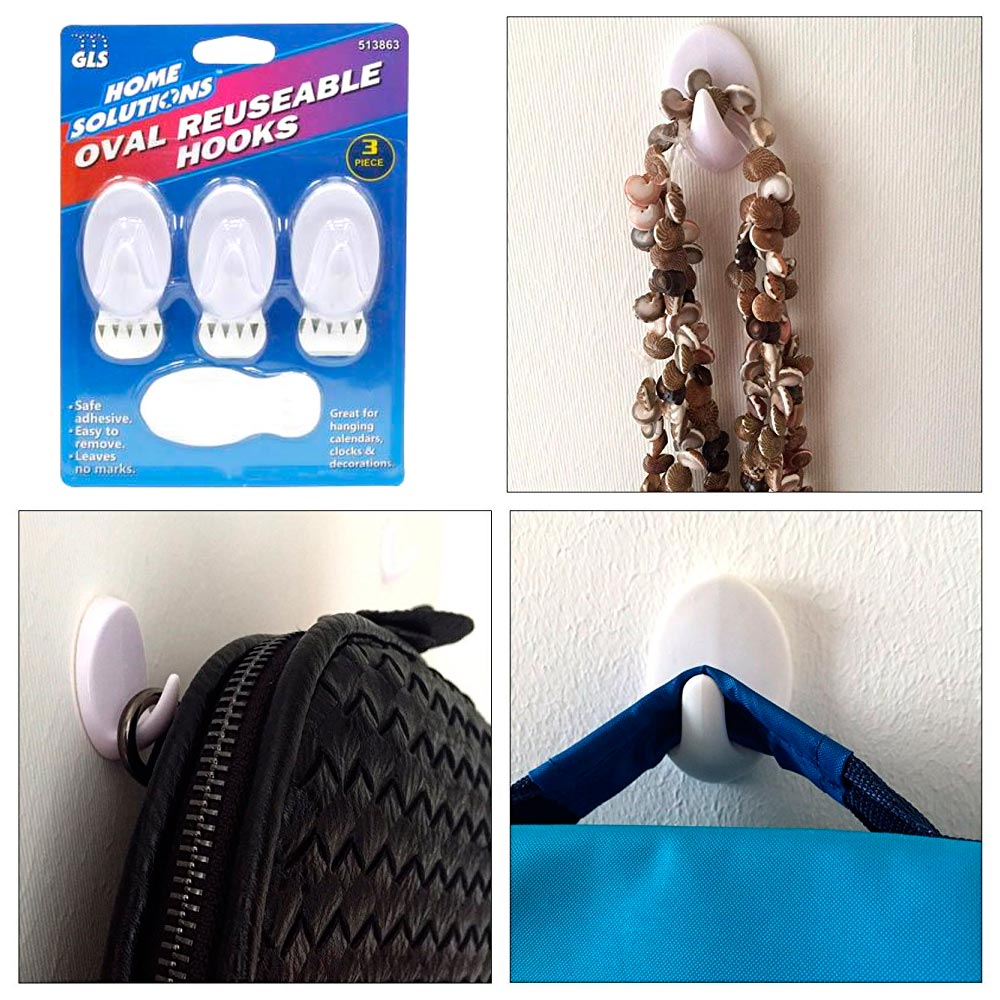 3 Pc Reusable Adhesive Hooks Oval Wall Mount Heavy Duty Wall Hook Sticky Hanger