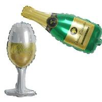 "BalsaCircle 2 pcs 14"" tall Wedding Champagne Bottle and Goblet Foil Balloons Set - Decorations Supplies Bachelorette Party SALE"